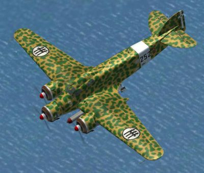Top down view of Airfix Savoia Marchetti SM-79 in flight.