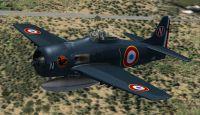 Screenshot of Armee de l'Air F8F Bearcat in flight.