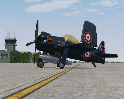 Screenshot of Armee de l'Air F8F Bearcat on the ground.