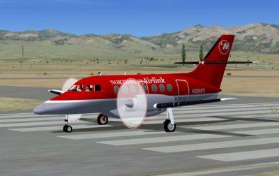 Screenshot of Northwest Airlink BAe Jetstream J31-32 on runway.