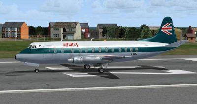 Screenshot of BEA Vickers Viscount 800 on runway.