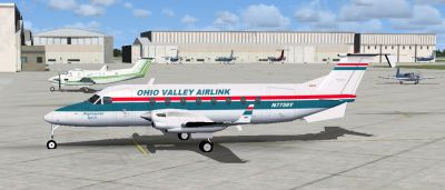 Screenshot of Ohio Valley Airlink Beech 1900D on the ground.