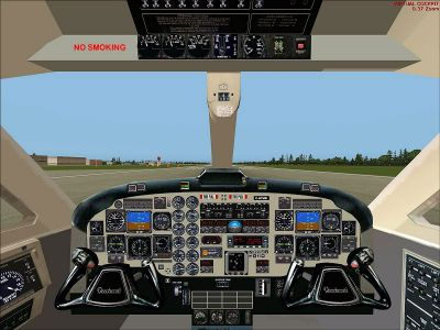 Virtual cockpit of Beechcraft B1900D Regional Airliner.
