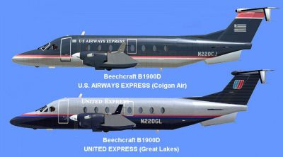 Screenshot of Beechcraft B1900D U.S. Airways Express/United Express.