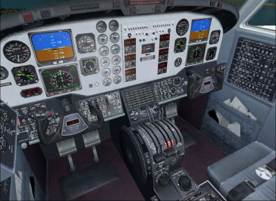 Screenshot of Beechcraft King Air 350 cockpit.