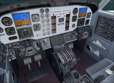 Screenshot of Beechcraft King Air 350 cockpit.