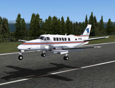 Screenshot of Beechcraft Model 99 Package taking off.