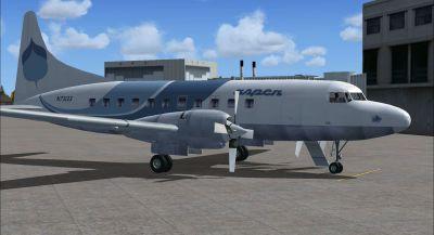 Screenshot of Blue Aspen Convair 580 on the ground (right side).