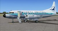 Screenshot of Blue Feather North Central Convair 580 on the ground (left side).