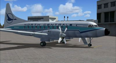 Screenshot of Blue Feather North Central Convair 580 on the ground (right side).