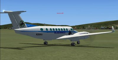 Screenshot of Bluegrass Airlines King Air 350 on the ground.