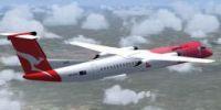 Screenshot of Bombardier Dash 8-Q400 in flight.