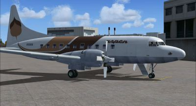 Screenshot of Brown Aspen Convair 580 on the ground (right side).