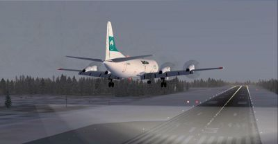 Screenshot of Buffalo Airways Lockheed Electra on landing approach.