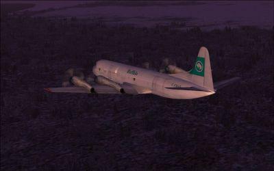Screenshot of Buffalo Lockheed L-188 Electra in flight.
