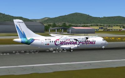 Screenshot of Caribbean Airlines ATR 72-500 on runway.