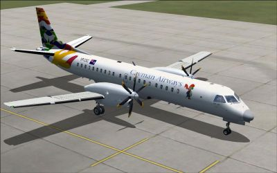 Screenshot of Cayman Airways SAAB 2000 on the ground.