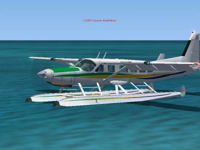 Screenshot of Cessna 208 Caravan Amphibian on the water.