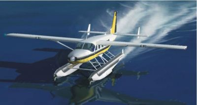 Screenshot of Cessna C208 Amphibian on the water.