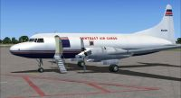 Screenshot of Contract Air Cargo Convair 580 on the ground (left side).