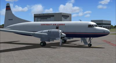 Screenshot of Contract Air Cargo Convair 580 on the ground (right side).