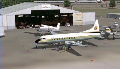 Screenshot of Convair CV-640 N-3409 outside hangar.