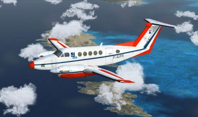Screenshot of DGAC Raytheon Beech 200 in flight.