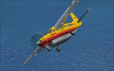 Screenshot of DHL Cessna C208B Grand Caravan in flight.