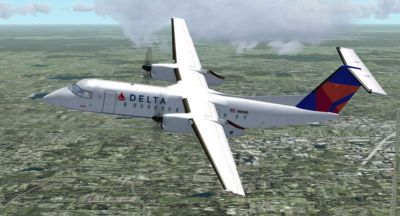 Screenshot of Delta Airlines Dash 8 Q300 in flight.