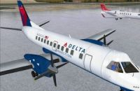Screenshot of Delta Connection Saab 340B on the ground.