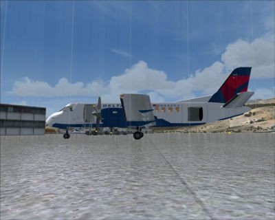 Screenshot of Delta Connection Saab 340B in the rain.
