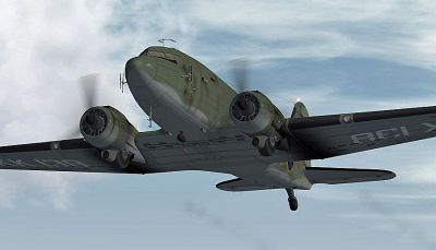 Screenshot of Douglas C-47 KK138 in flight.
