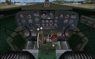 Screenshot of Douglas C-47 Skytrain cockpit and panels.