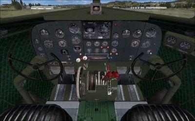 Screenshot of Douglas C-47 Skytrain cockpit and panels.