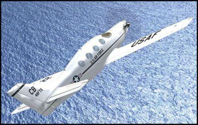Screenshot of Epic LT 48FTS in flight over water.
