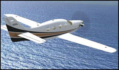 Screenshot of Epic LT N020L in flight over water.
