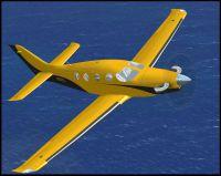 Screenshot of Epic LT N022L in flight over water.