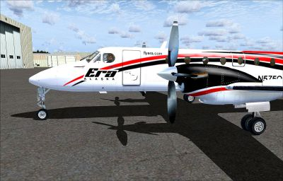 Screenshot of Era Alaska Beechcraft 1900C on the ground.