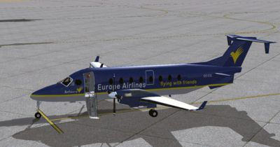Screenshot of Europe Airlines Beechcraft B1900D on the ground.