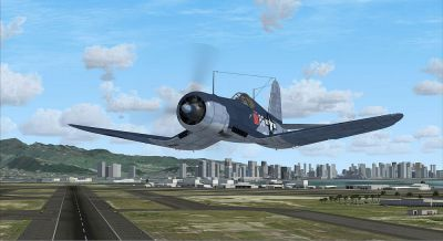 Screenshot of F4U-1A Corsair in flight.