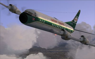 Screenshot of Cathay Pacific Lockheed L-188 in flight.