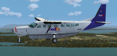 Screenshot of FedEx Feeder Cessna C208B in flight.