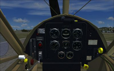 Cockpit view of Fieseler Storch.