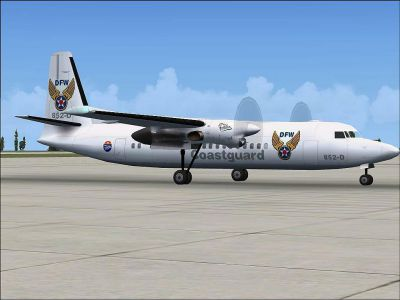 Screenshot of Fokker 50 Coast Guard on the ground.