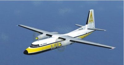 Screenshot of a yellow Fokker F27 200 in flight.