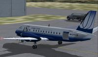 Screenshot of FSDS2 Saab 340 on the ground.