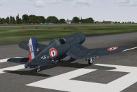 Screenshot of French Navy. F-4U Corsair on runway.
