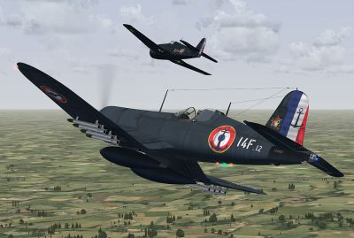 Screenshot of two French Navy. F-4U Corsair in flight.