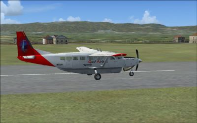 Screenshot of Genf Airlines Cessna Caravan on runway.