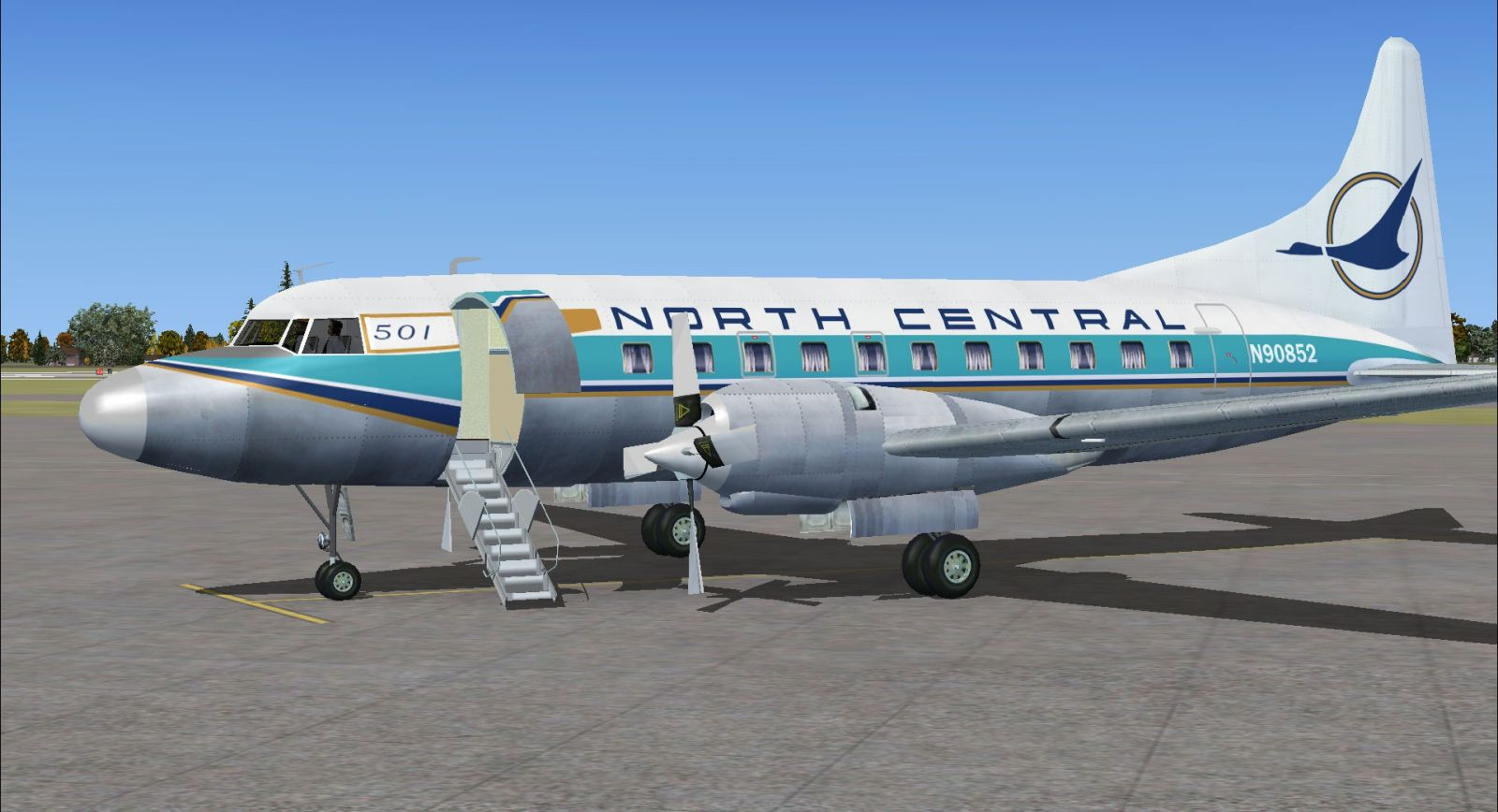 gold feather north central convair 580 for fsx
